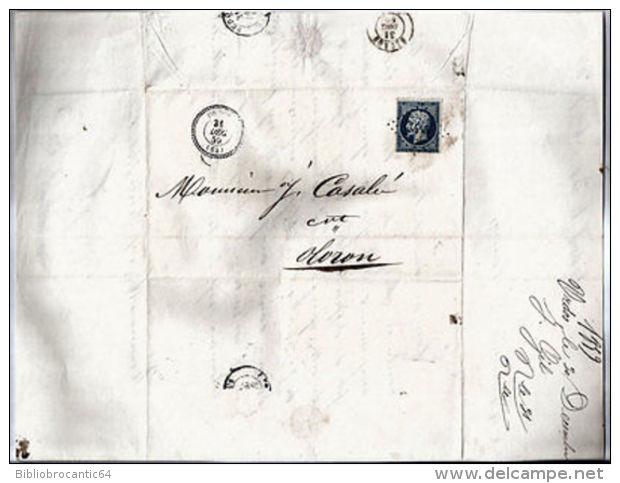 LETTRE < MARQUE POSTALE 1859 + TIMBRE NAPOLEON III - URDOS < OLORON-SAINTE-MARIE - Oude Documenten