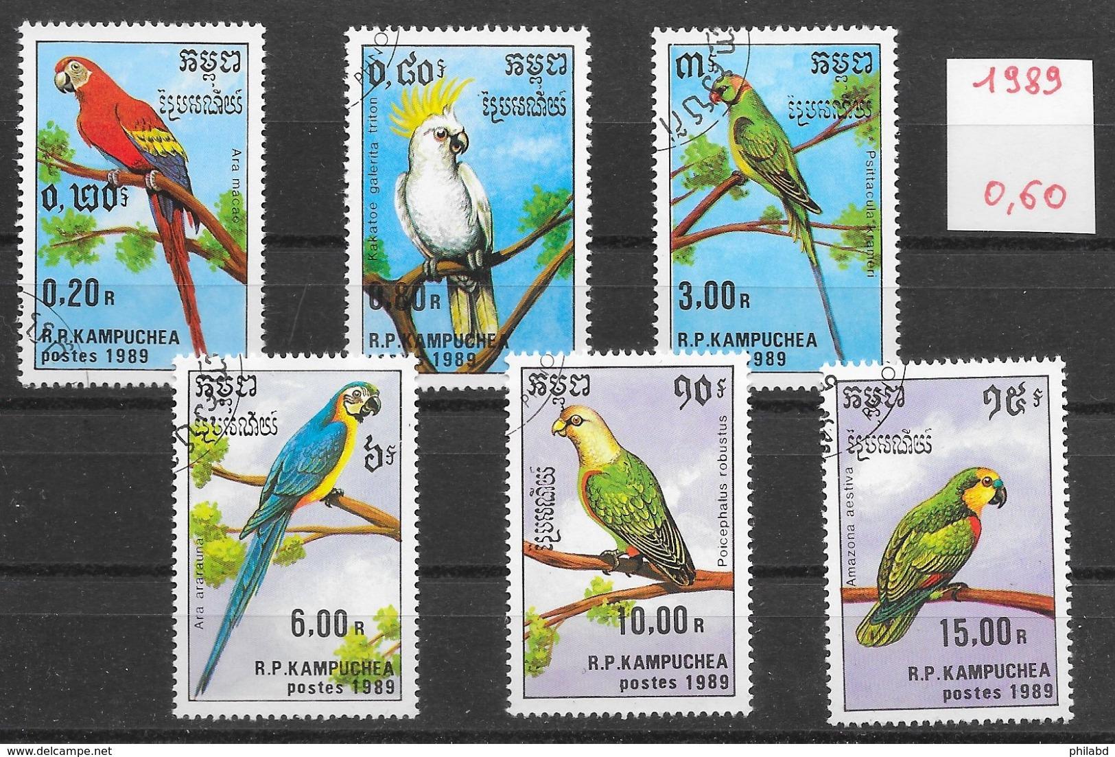 Oiseau Perroquet - Kampuchéa N°872 à 877 1989 O - Perroquets & Tropicaux