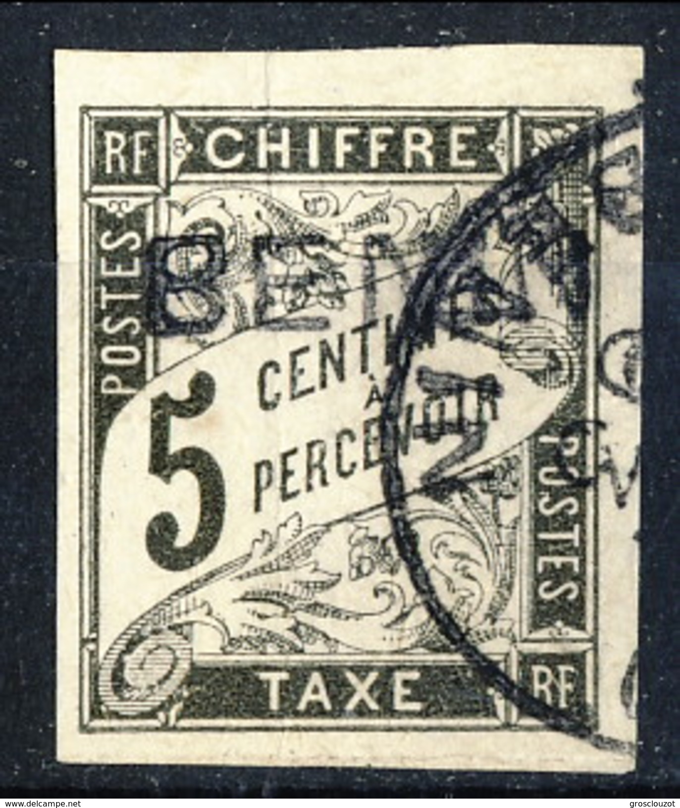 Benin Tasse 1894 N. 1 C. 5 Nero Usato Cat. € 80 - Benin (1892-1894)