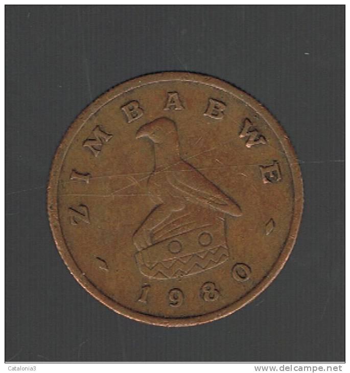 ZIMBABWE - 1 Cent 1980 Circulada  KM1a  - Bird Statue - Animal Coin - Zimbabwe