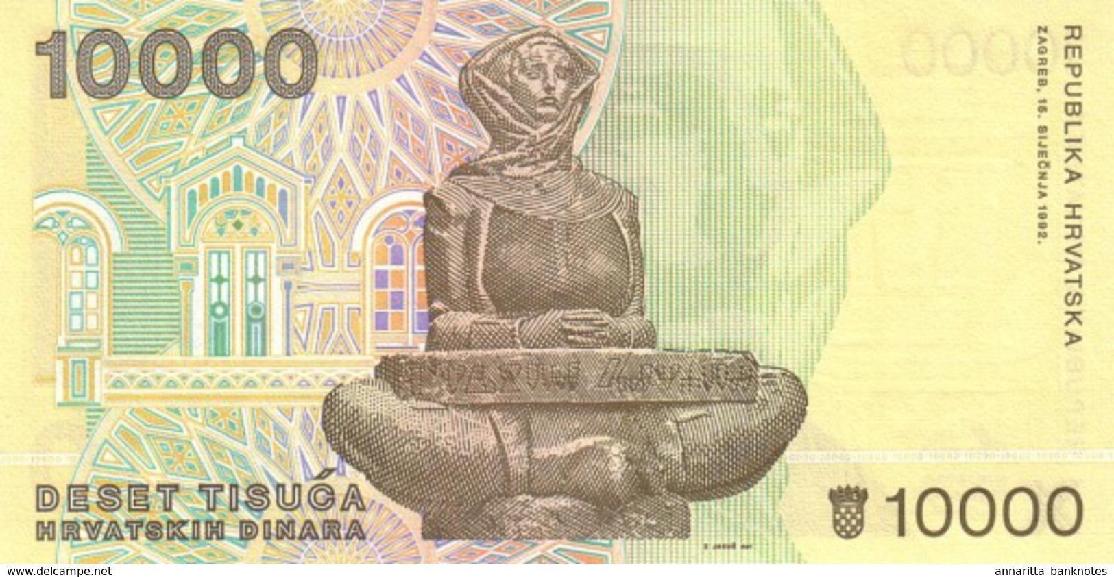 CROATIA 10000 DINARS 1992 P-25 UNC [ HR310a ] - Croatia