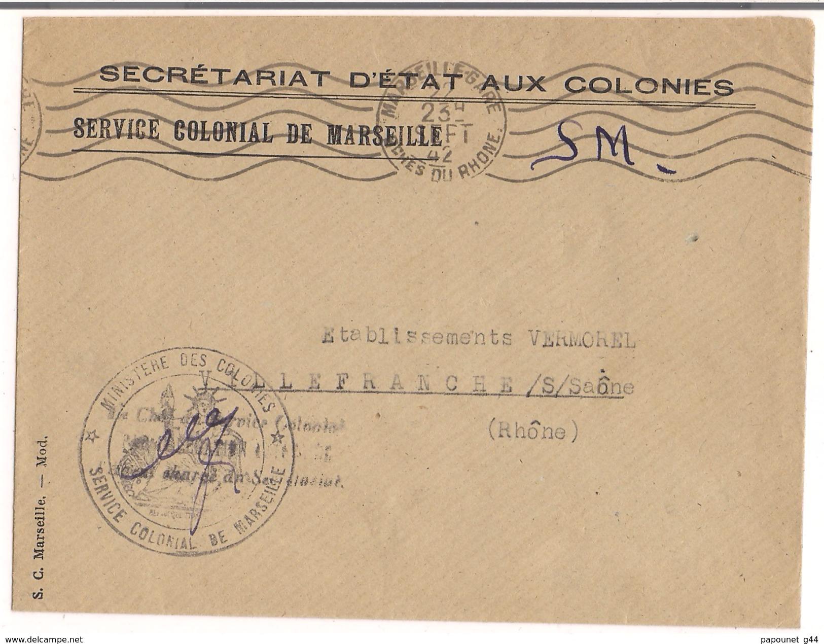 Lettre Service Colonial De Marseille 1942 Cachet ( Ministère Des Colonies ) - France
