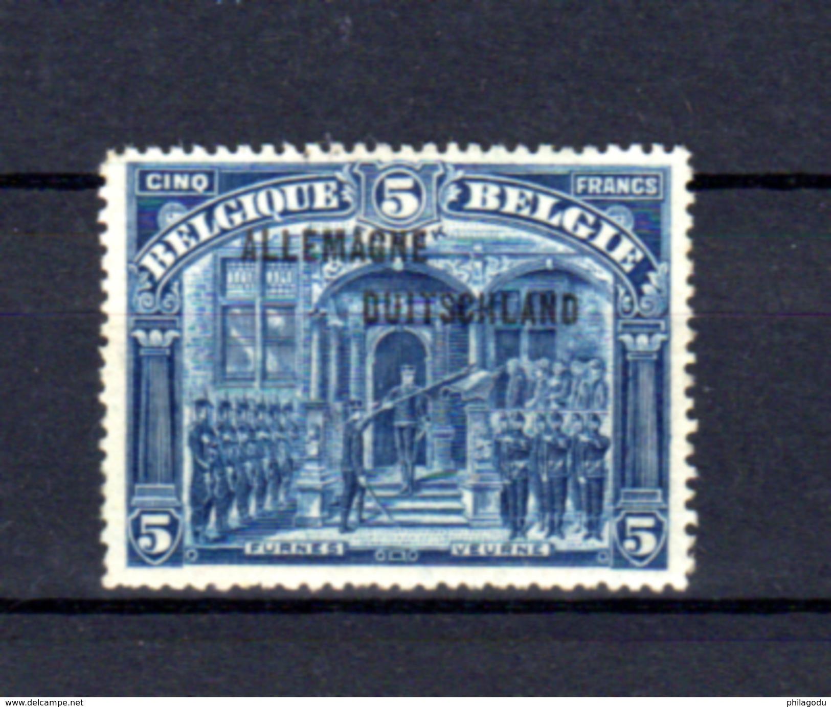 1919   Timbres 1915-19 Surchargé « ALLEMAGNE-DUITSCHLAND », 53**, Cote 250 €, - WW I