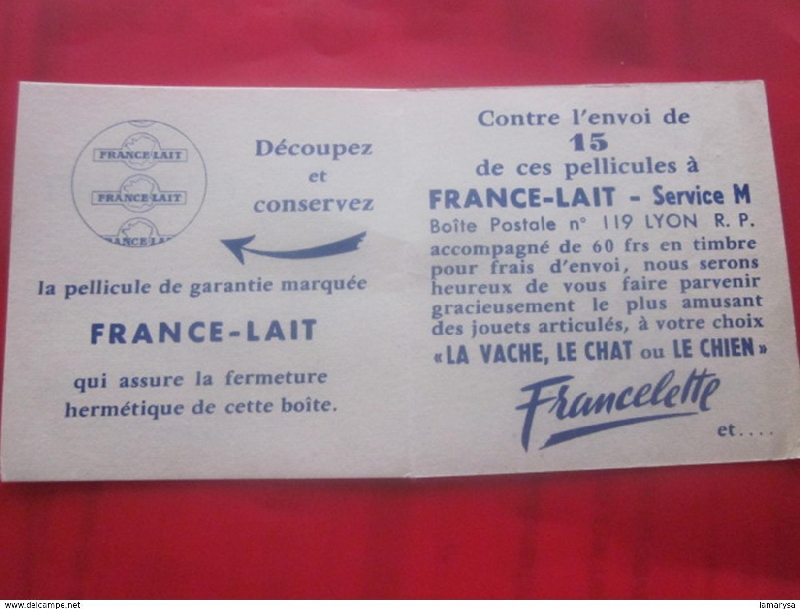 Publicité France-Lait Vachette Articulée Jeu Concours Vintage  Contre Envoi 15 Pellicules Lire R.V... - Publicités