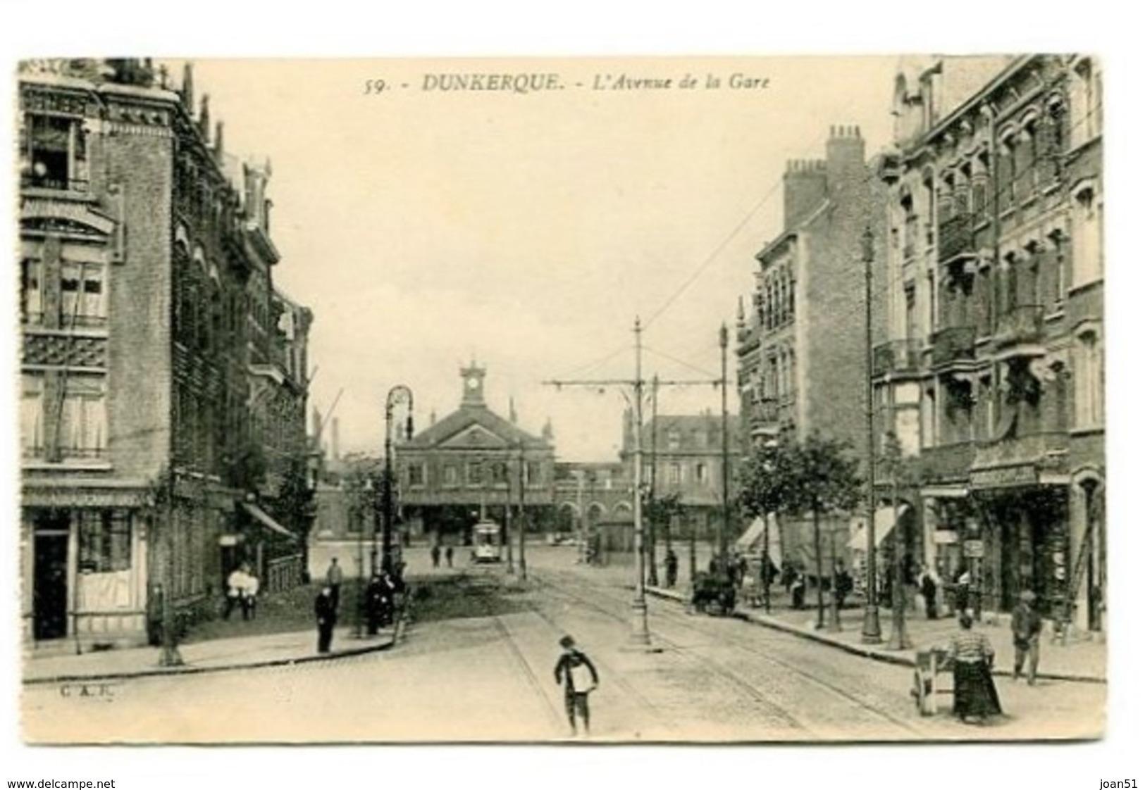 C27  DUNKERQUE L'AVENUE DE LA GARE 1919 - Dunkerque