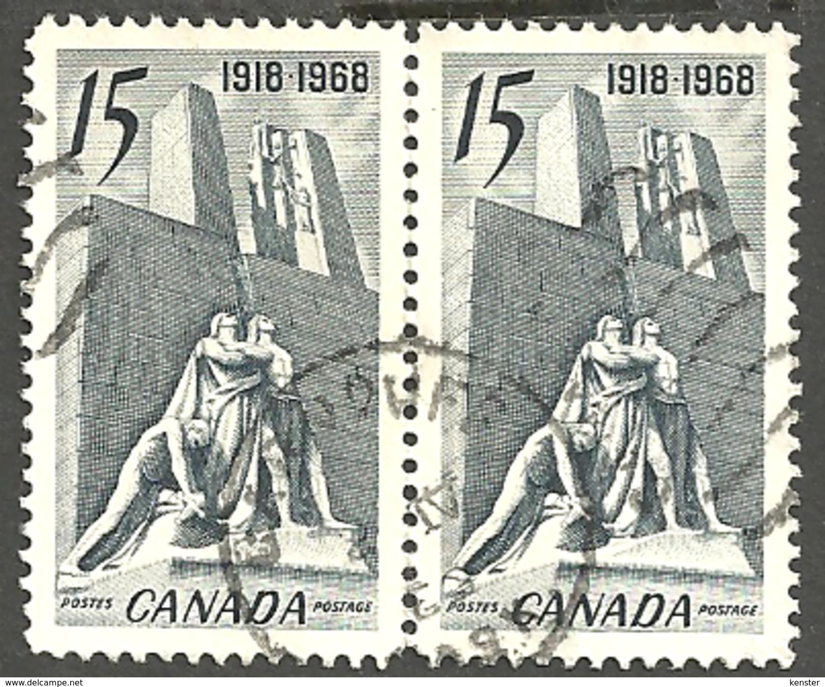 Sc. # 486 Armistice, Canadian Vimy Memorial, Arras, France Pair CDS Used 1968 K145 - Oblitérés