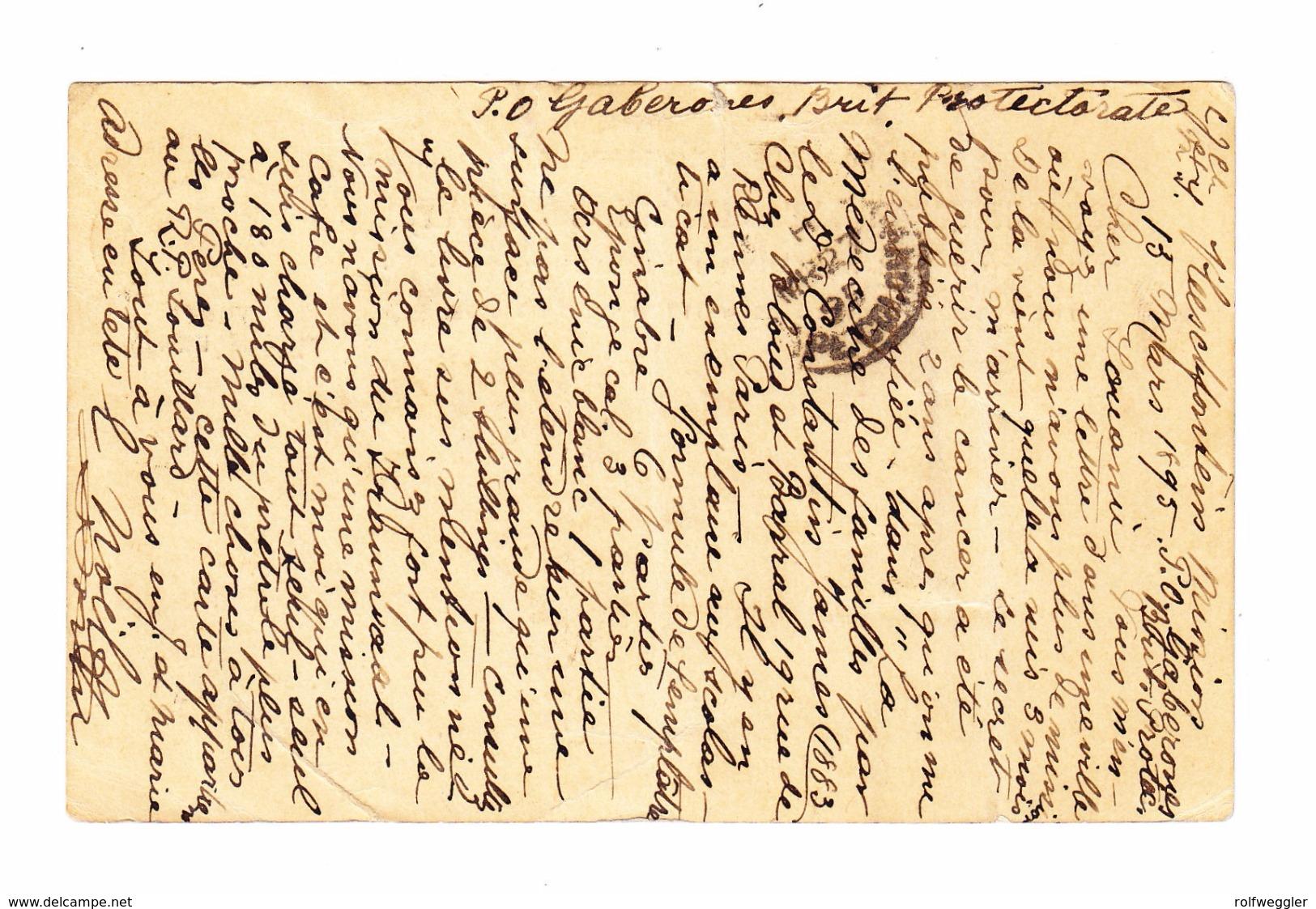 GB KOLONIE Betschuanaland Ganzsache 3 1/2d + 1/2d Zusatz Ges Gaberones 20.3.1896 Nach Jersey - Bechuanaland (...-1966)