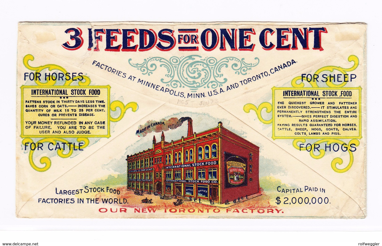 "Kanada ~1910 Illustrierter Kuvert ""International Stock Food Co /Our New Toronto Factory Mit K.Edw VII Paar 1d - 1903-1908 Règne De Edward VII"