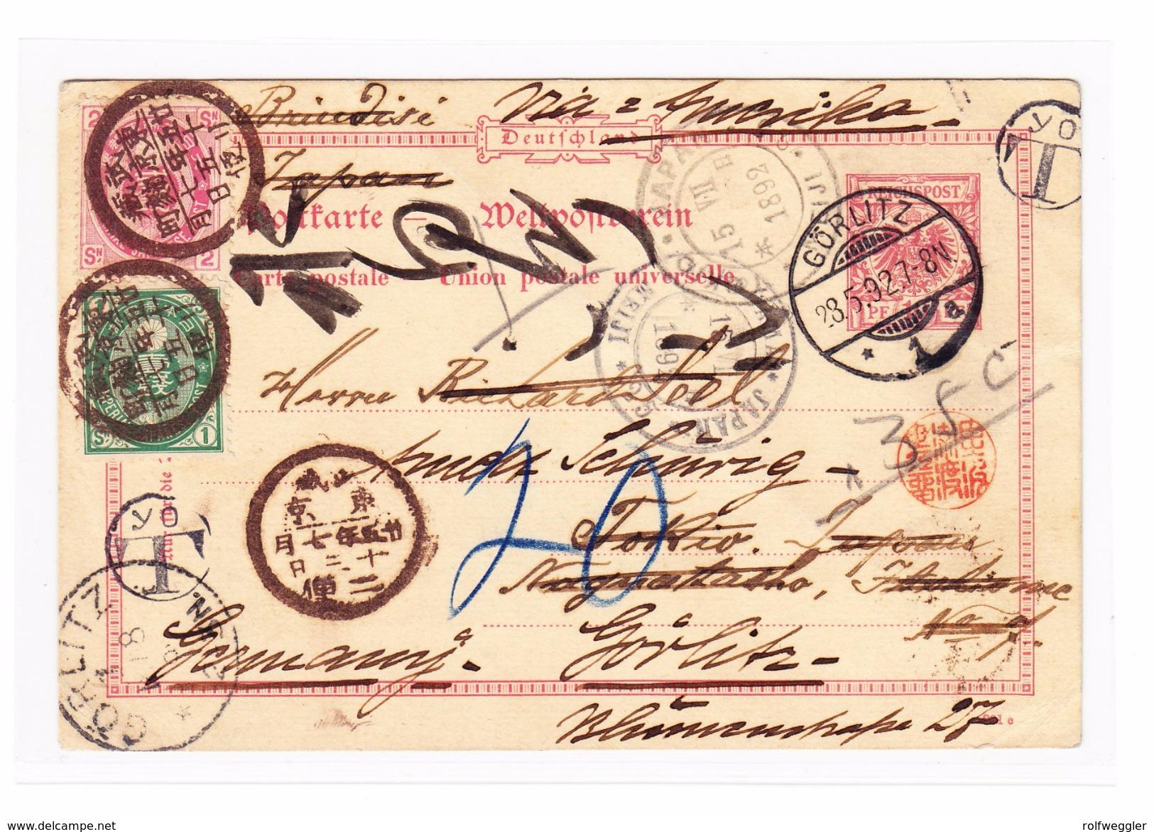 JAPAN  1892 GS Karte 10Pf Von Görlitz Nach Tokyo Mit Taxstempel YOT Nachgesendet Mit 1S Und 2s - Japon