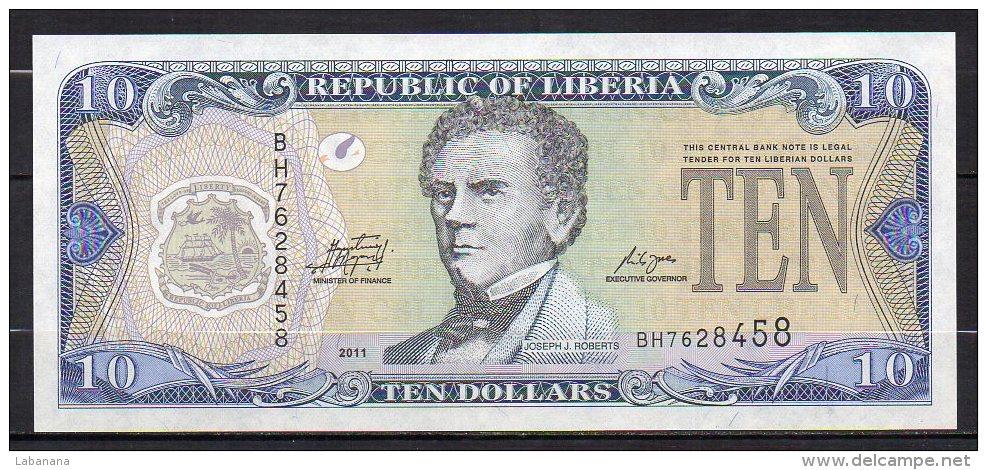 523-Liberia Billet De 10 Dollars 2011 BH762 Neuf - Liberia