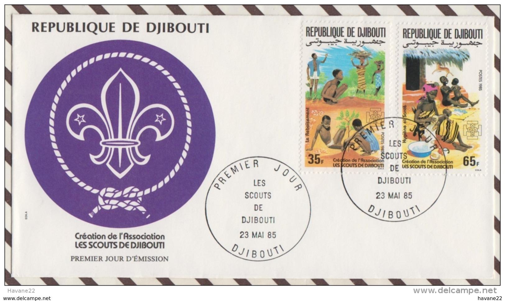 FDC 19 ENVELOPPE 1ER JOUR 1985 REPUBLIQUE DE DJIBOUTI CREATION DE L'ASSOCIATION LES SCOUTS DE DJIBOUTI - Djibouti (1977-...)