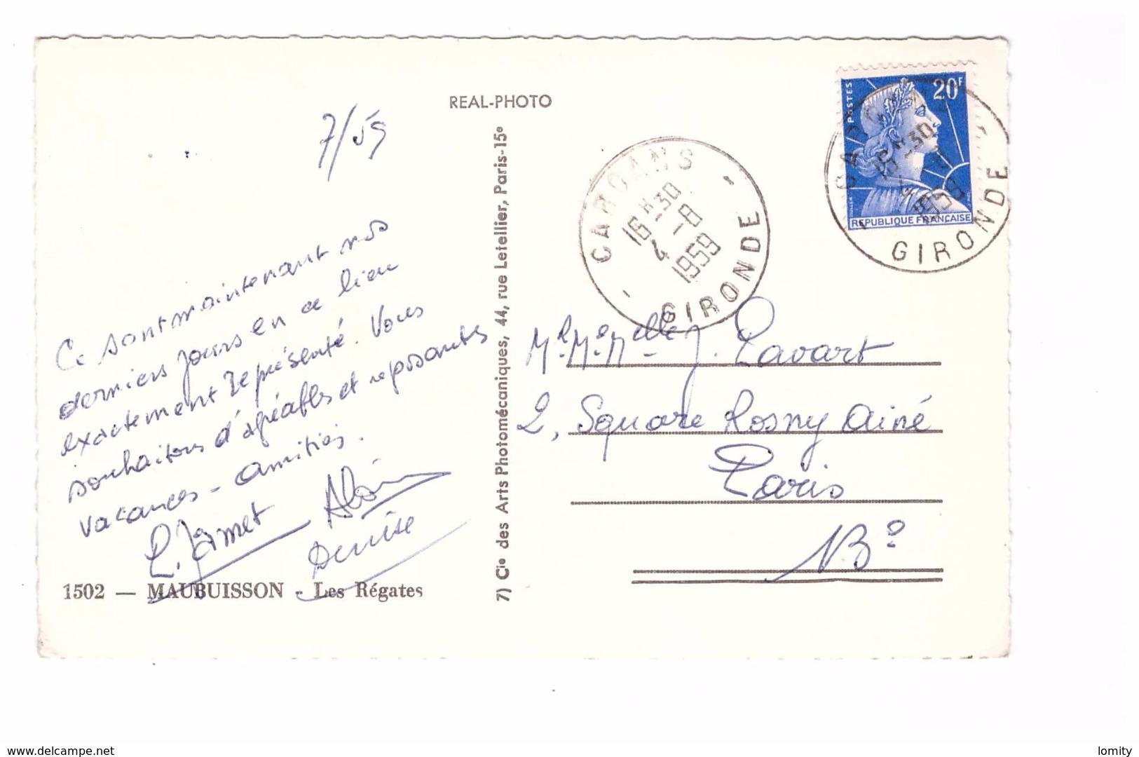 33 Maubuisson Les Régatesbateau Voilier Regate Cachet 1959 - France