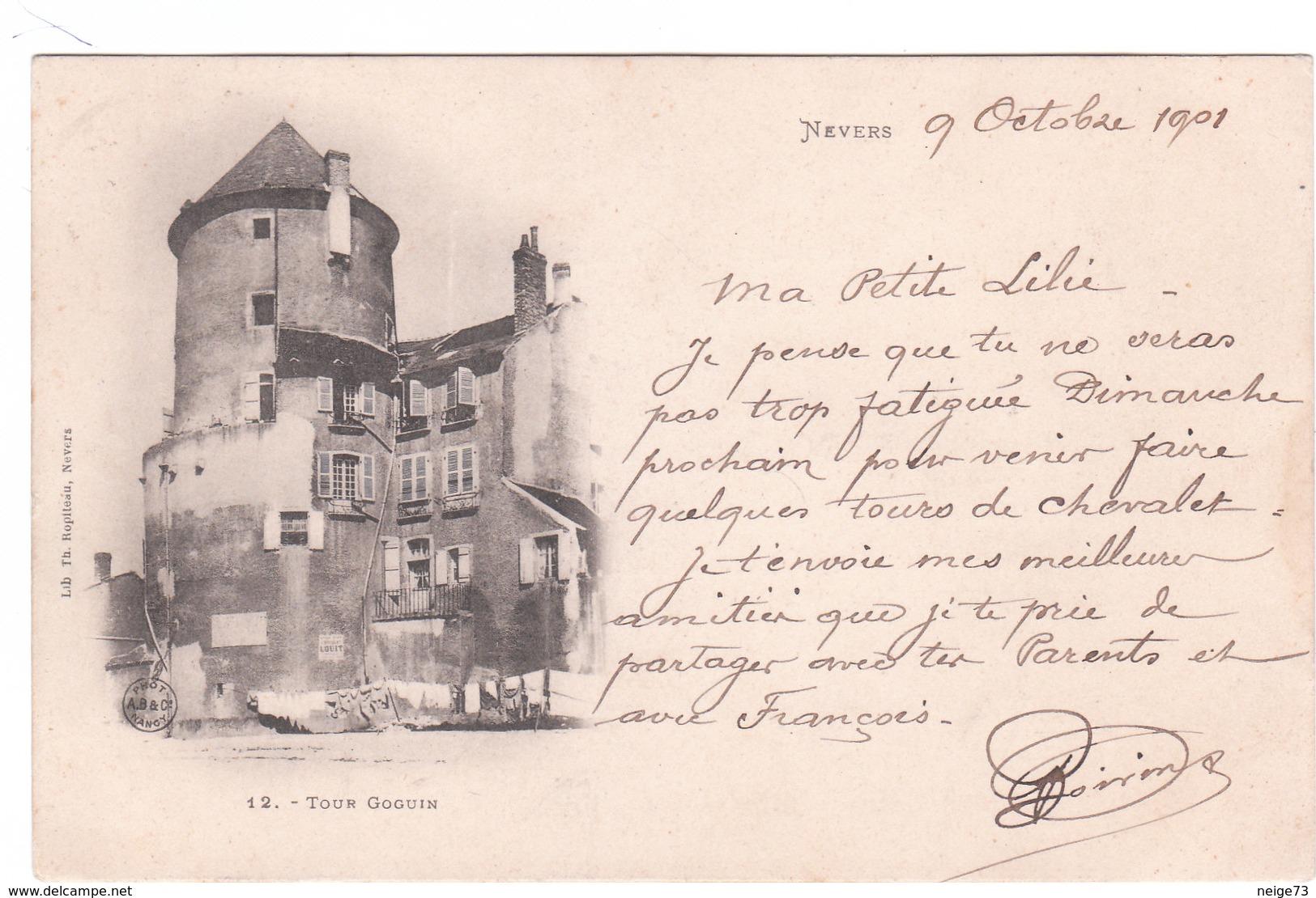 Carte Postale Ancienne De La Nièvre - Nevers - La Tour Goguin - Vers 1900 - Nevers