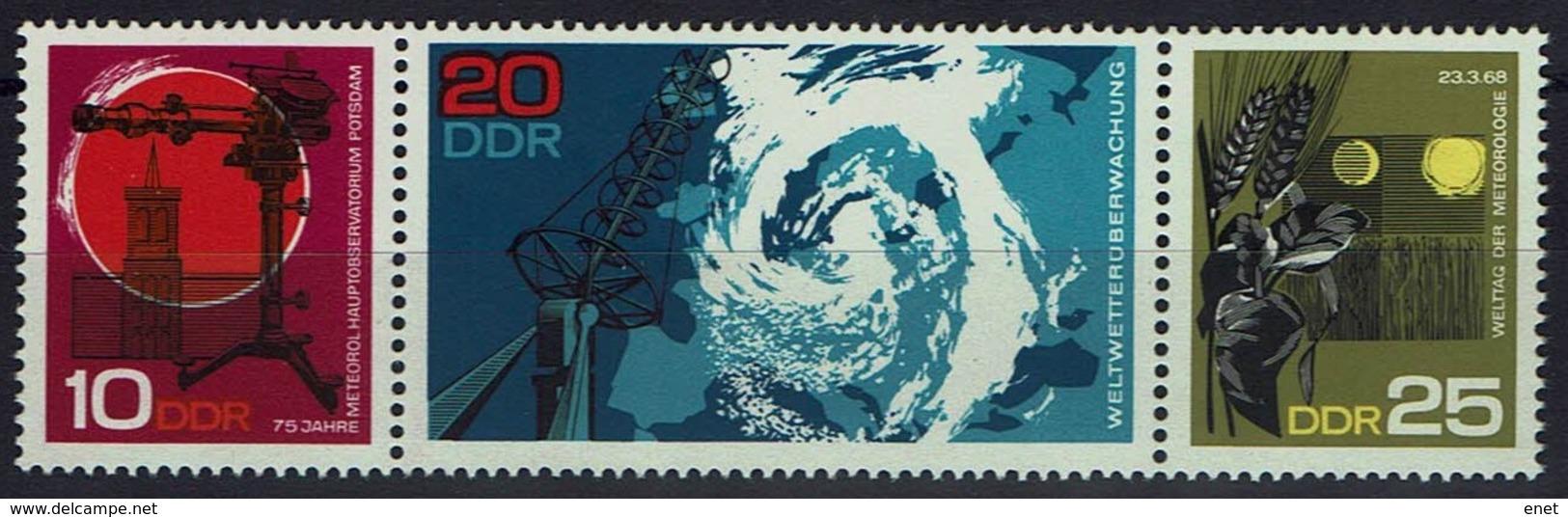 DDR 1968 - MiNr 1343-1345 Dreierstreifen - Meteorologisches Hauptobservatorium Potsdam - Umweltschutz Und Klima