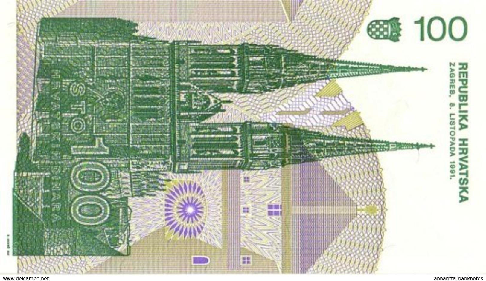 CROATIA 100 DINARS 1991 UNC [ HR305a ] - Croatia