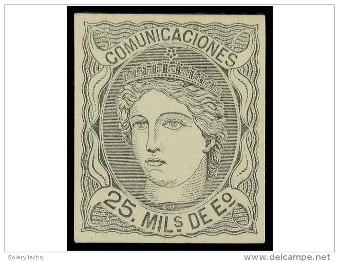 (*) ESPAÑA. Ed.106. PRUEBA DE PUNZON. 25 Mils. Negro. Papel Cartulina. Márgenes... - Zonder Classificatie