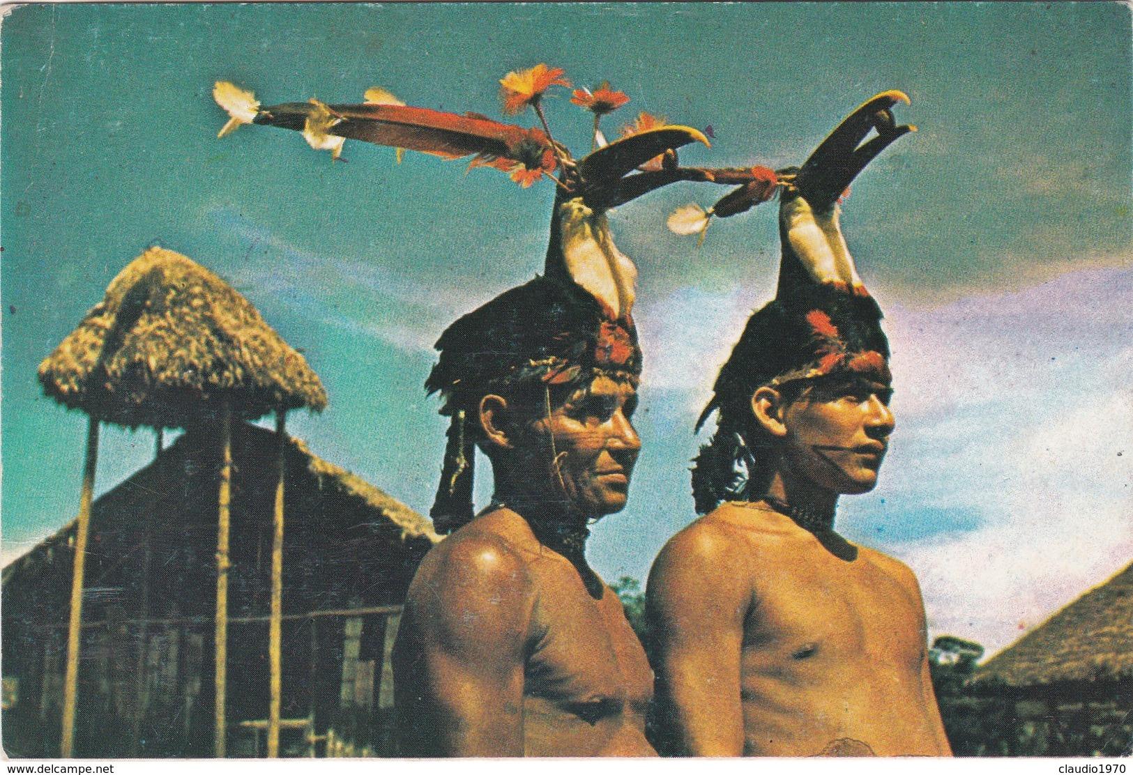 Cartolina - Postcard    -   MISION DOMINICANA: CULTURA ALAMA. DANZANTES CON GORROSDE SICUANGA - ECUADOR - Ecuador