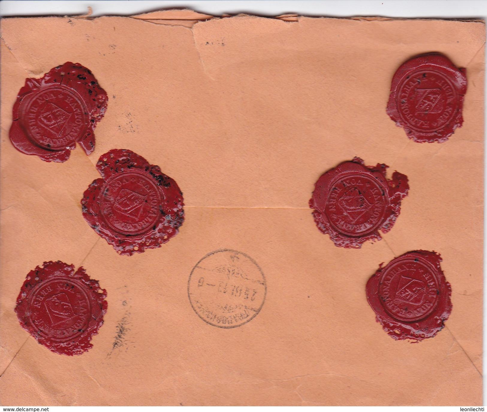 Siegelbrief, Kantonalbank Bern, Wert 4000.-, Bestellgebühr Bezahlt, Bern1 607 Wert. Mi:2 X 107x. Nach Fraubrunnen - Lettres & Documents
