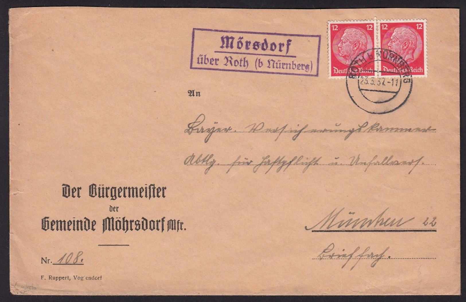 "Landpost  ""Mörsdorf über Roth (b Nürnberg)""  1937 Fernbrief - Deutschland"