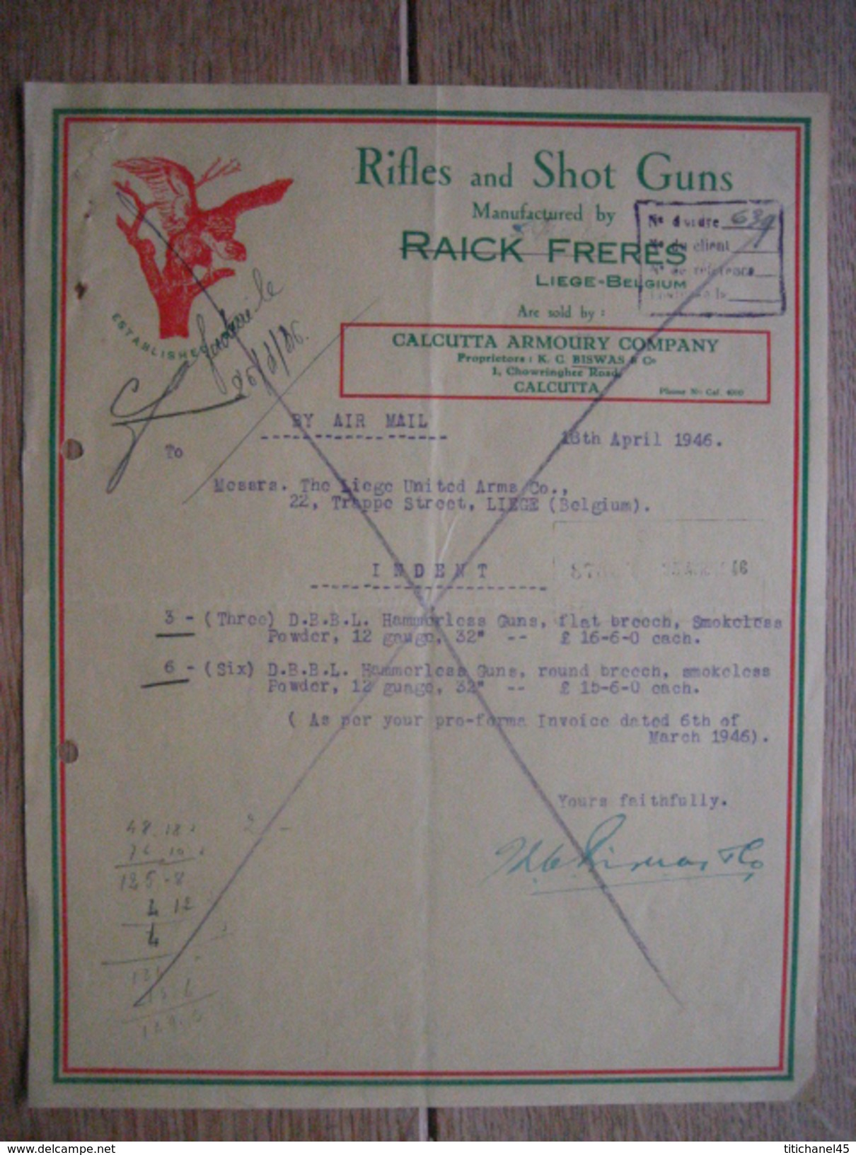 Lettre 1946 CALCUTTA - CALCUTTA ARMOURY COMPANY - Rifles And Shot Guns Manufactured By RAICK FRERES, LIEGE - Factures & Documents Commerciaux