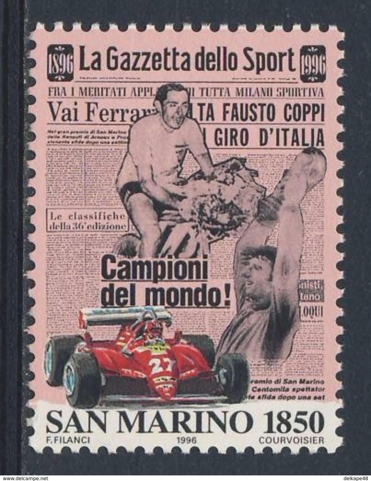 """San Marino 1996 Mi 1675 YT 1455 ** """"La Gazzetta Dello Sport"""" - Fausto Coppi, Ferrari Race-car - Wielrennen"""
