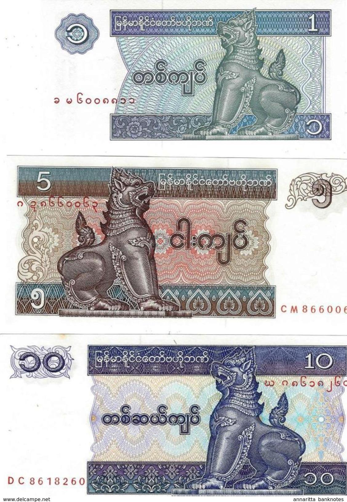 MYANMAR 1 5 10 KYAT ND (1995) P-69,70,71 UNC SET [MM103a-105a] - Myanmar