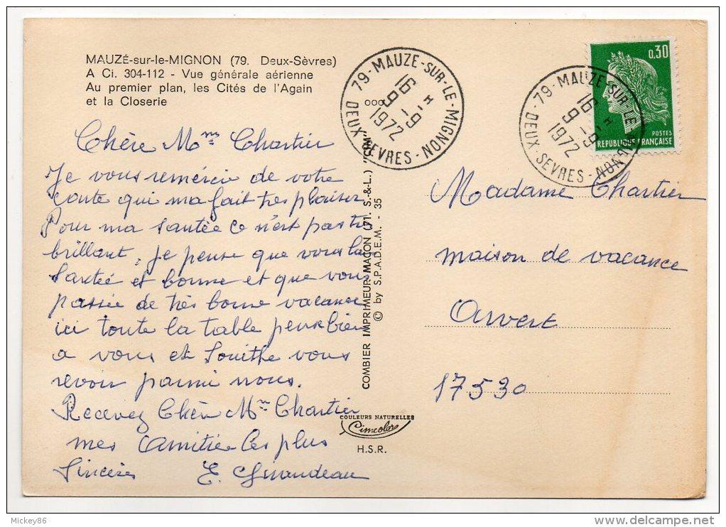 MAUZE SUR LE MIGNON-1972-Vue Générale Aérienne Cités Again,Closerie,cpsm 15 X 10 N°304112 éd Combier-Beau Cachet - Mauze Sur Le Mignon