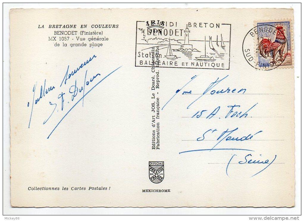 BENODET--1966--Vue Générale De La Grande Plage (animée),cpsm 15 X 10 N°1057 éd JOS- Cachet - Bénodet
