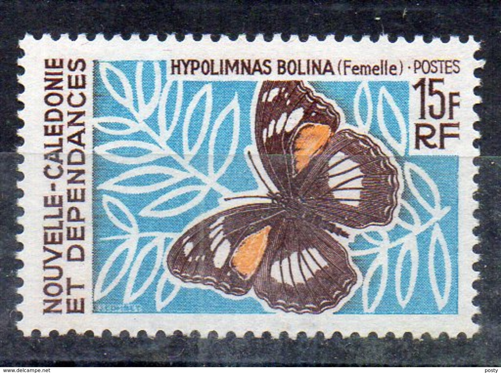 NOUVELLE-CALEDONIE - PAPILLON - BUTTERFLY - HYPOLIMNAS BOLINA - 15 Fr - 1967 - - New Caledonia
