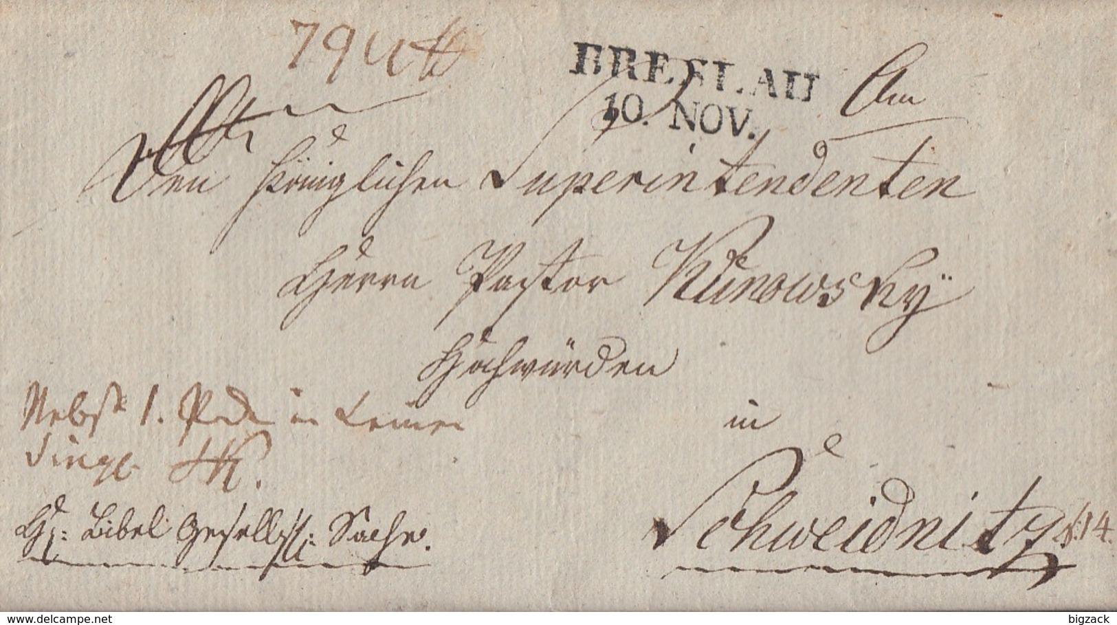 Preussen Brief L2 Breslau 10.11. Gel. Nach Schweidnitz - Preussen