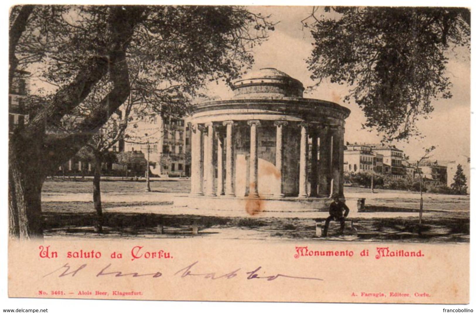GRECIA/GRECE/GREECE - UN SALUTO DA CORFU/CORFOU - MONUMENTO DI MAITLAND - Grecia