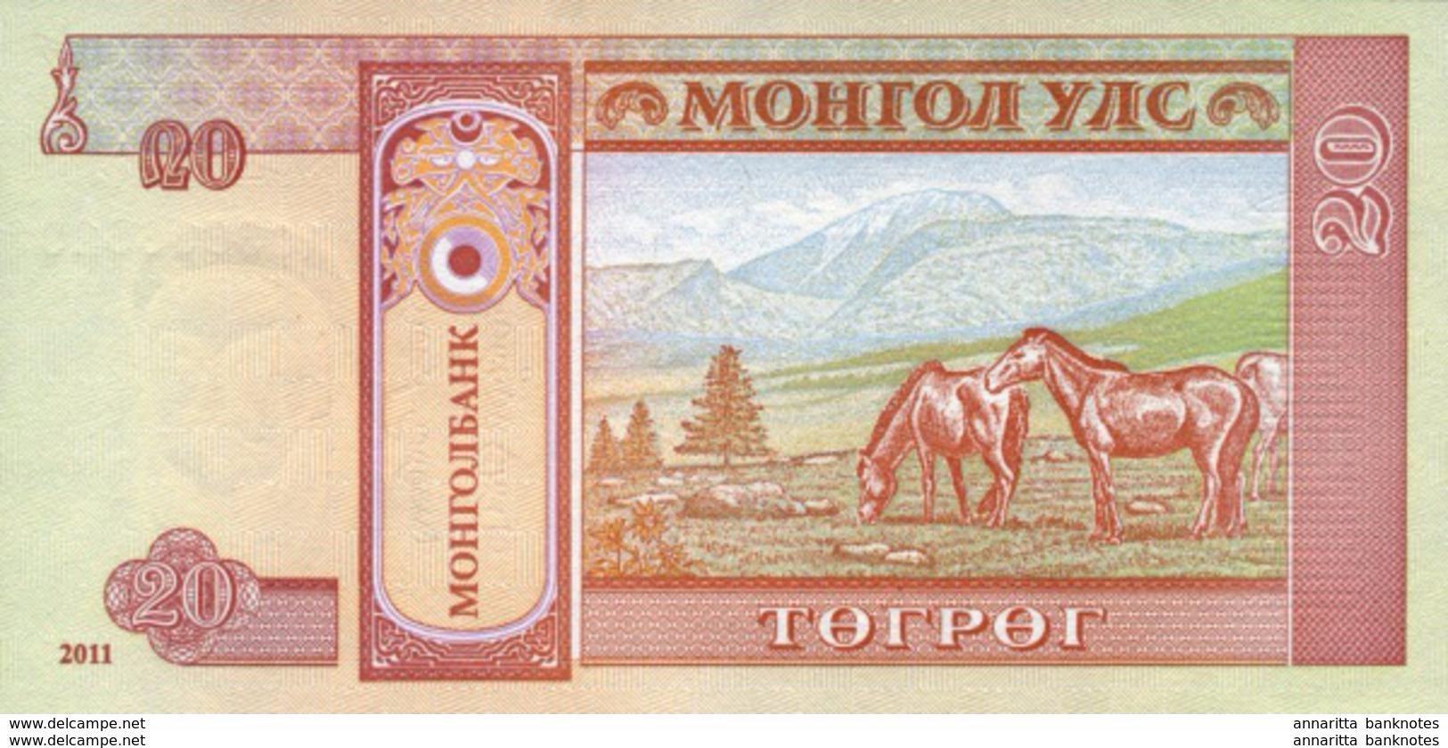 MONGOLIA 20 ТӨГРӨГ (TÖGRÖG) 2011 P-63f UNC  [MN431b] - Mongolie