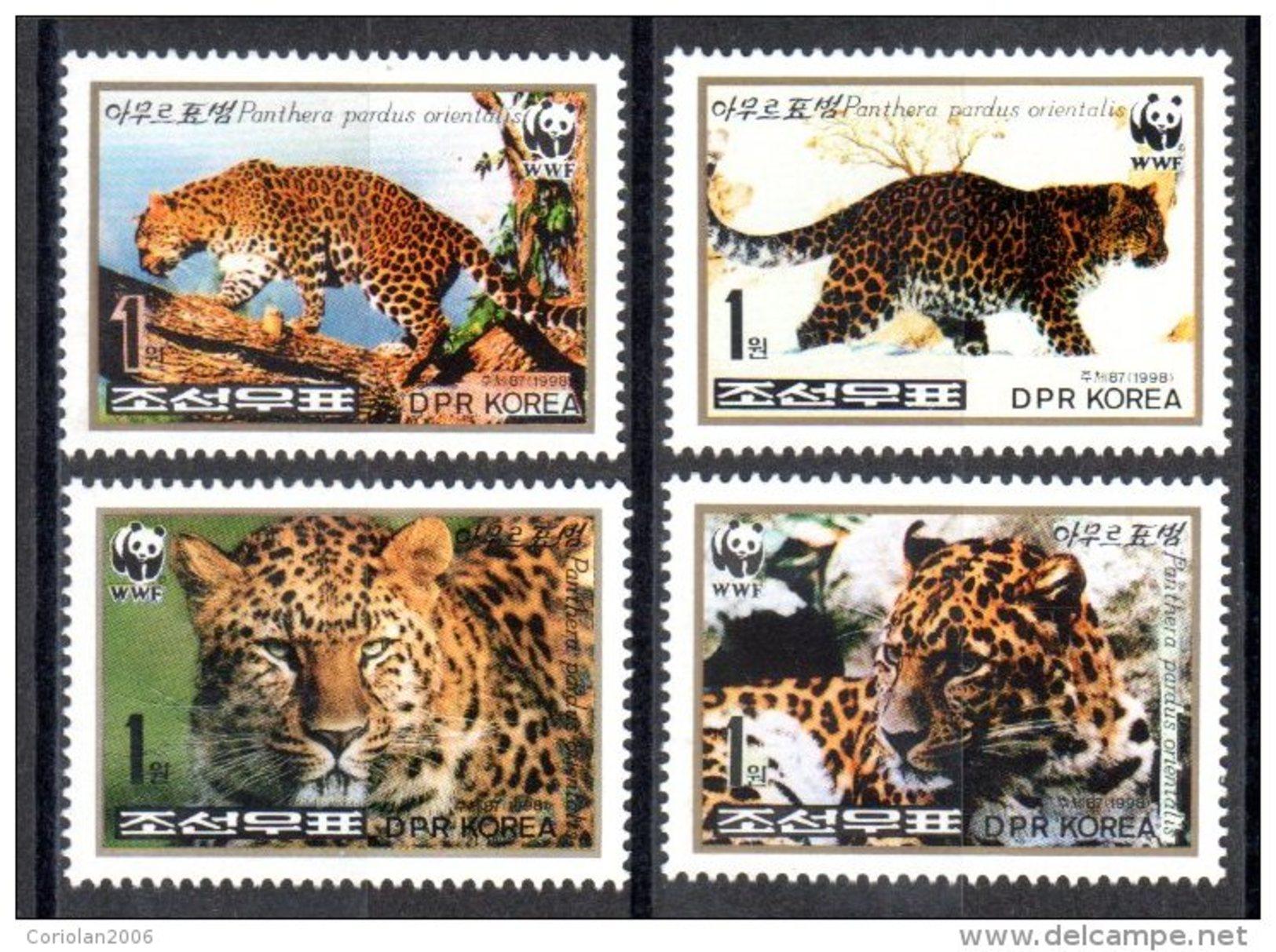 North Korea 1998 / Big Cats / Set Of 4 / WWF - Unused Stamps