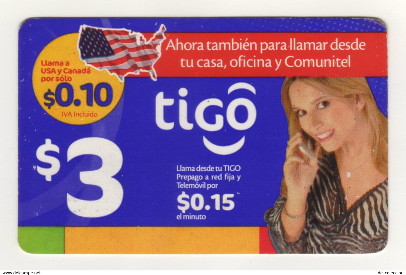 El Salvador Tigo Card $3 Girl Talking On Cell, Validity 15.03.2009, Used - El Salvador