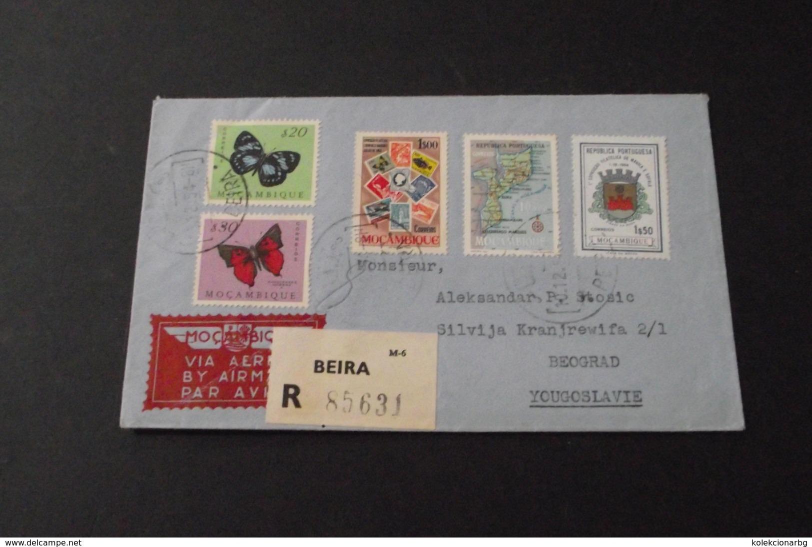 Avionsko Pismo Beira(Mozzambika)-Beograd(Yugoslavija) 1954.   Airmail Letter Mocambique-Yougoslavie - Covers & Documents