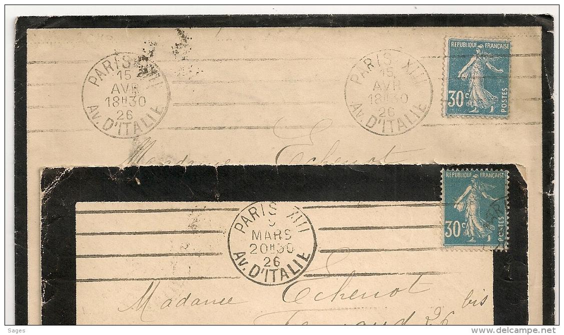 PARIS XIII AV D'ITALIE Sur 2 Enveloppes. 1926. - Oblitérations Mécaniques (flammes)