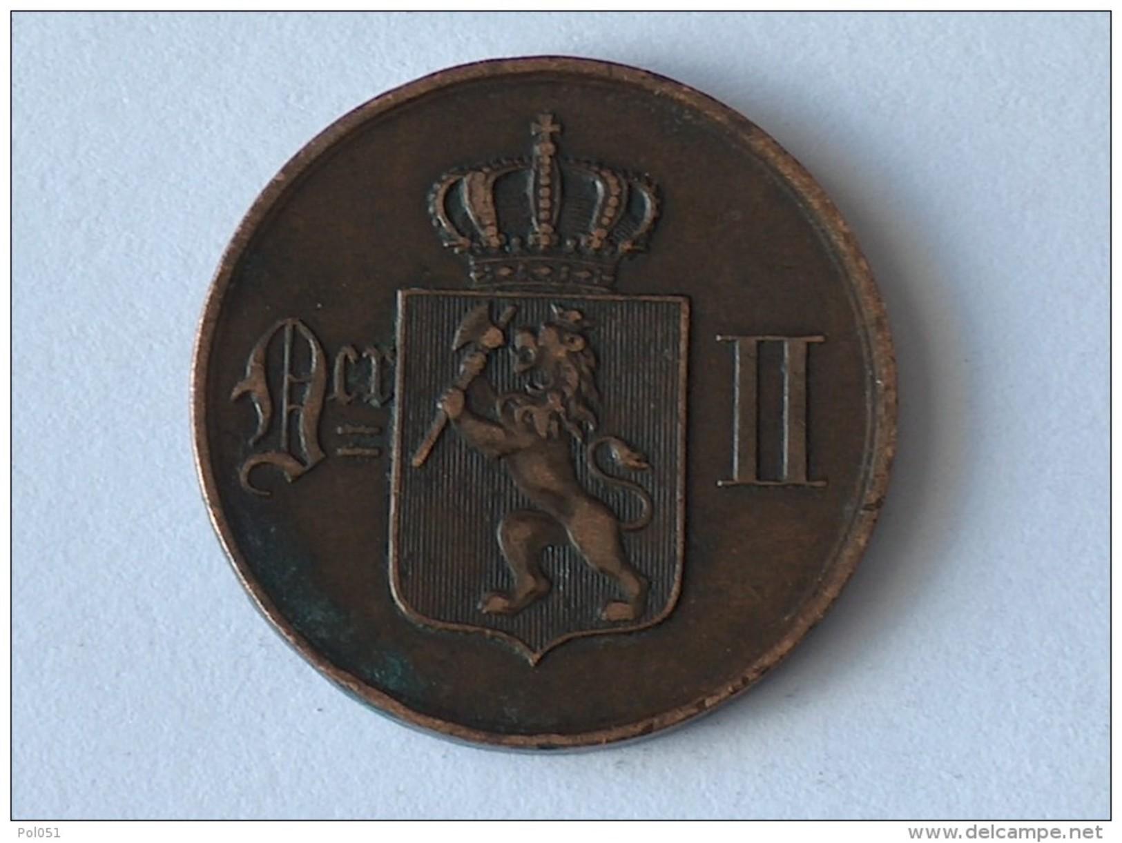 NORVEGE 5 ORE 1876 - Norvège