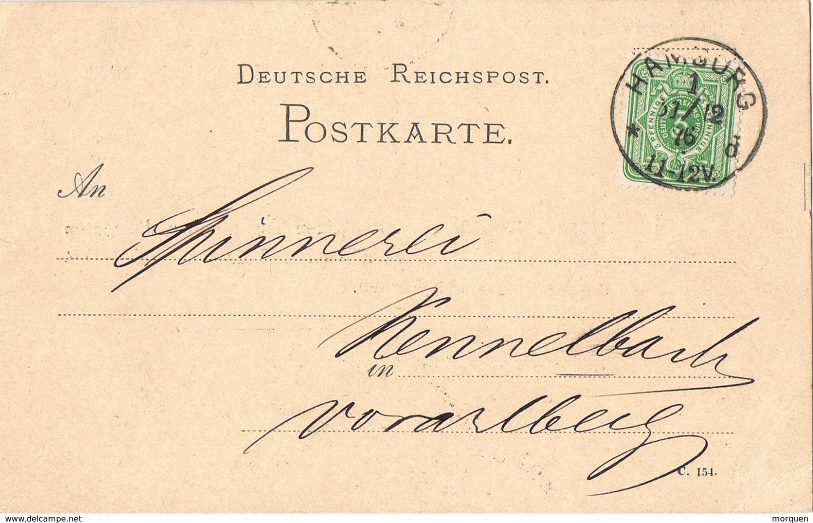 24194. Tarjeta Privada HAMBURG (Alemania Reich) 1876 To Bregenz. Privat Card - Cartas