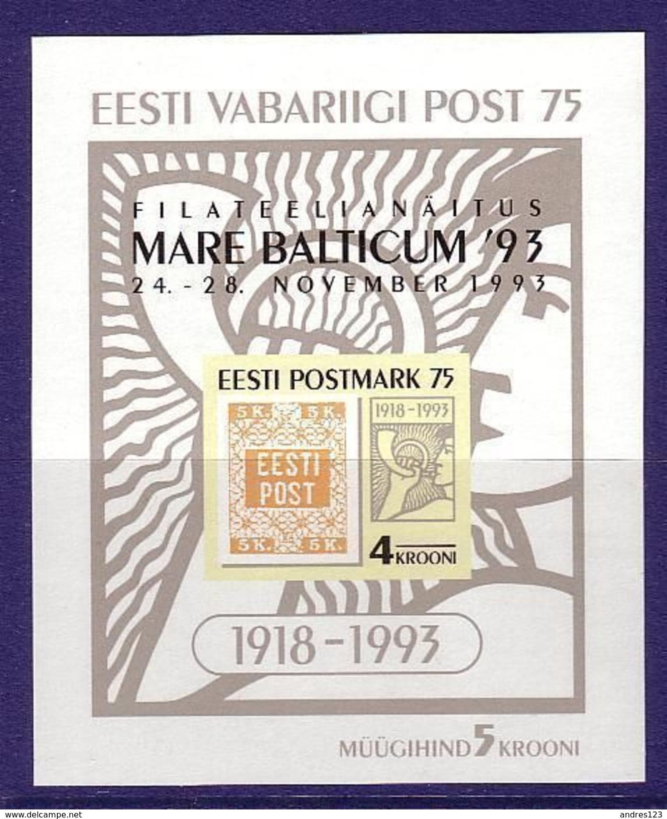Estonia 1993 MNH ** Mi 215 Bl 6 75th Anniversary Of The Republic Of Estonia Postal Service - Estonia