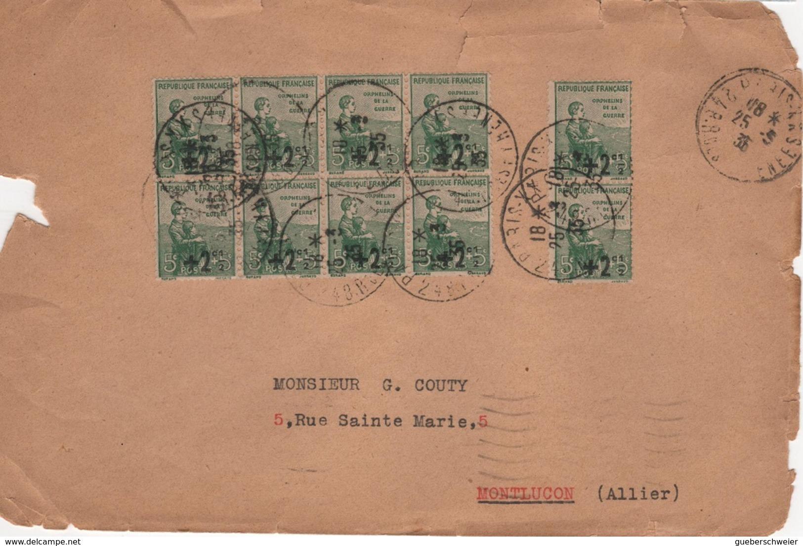FR-L122 - FRANCE Bloc De 8 + Paire Orphelins Surchargés Sur Lettre De Périgueux Pour Montluçon 1933 - Lettres & Documents