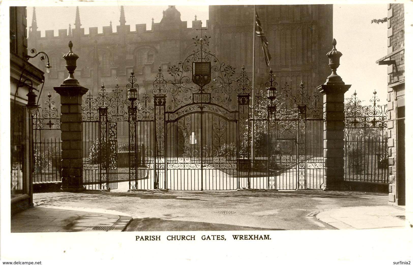 CLWYD - WREXHAM - PARISH CHURCH GATES RP Clw376a - Flintshire
