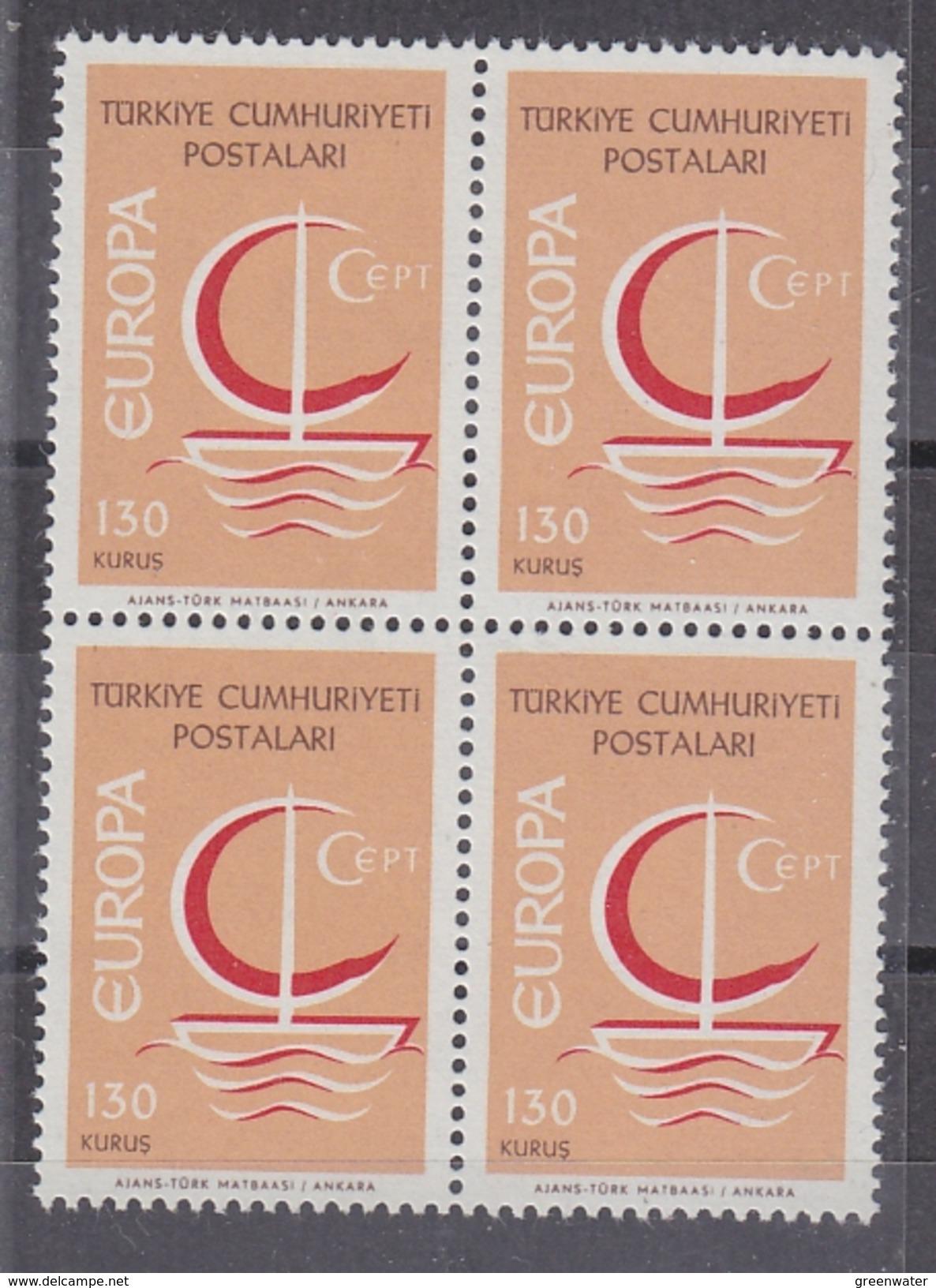 Europa Cept 1966 Turkey 130K (wrong Colour) 1v  Bl Of 4   ** Mnh (35616) - 1966