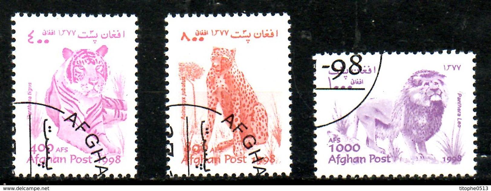 AFGHANISTAN. 3 Timbres Oblitérés De 1998. Félins. - Roofkatten