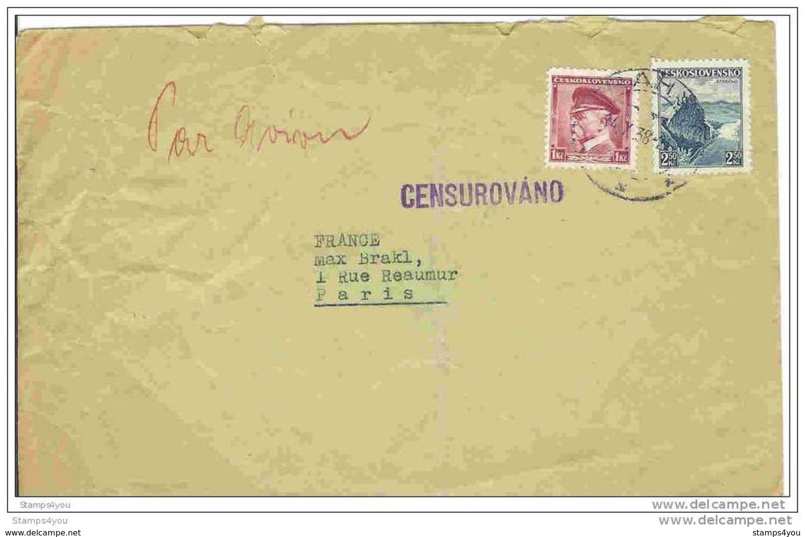 """EU - 2789 - Lettre Envoyée De Prague à Paris 1938 - Cachet Linéaire """"Censurovano"""" - Covers & Documents"""