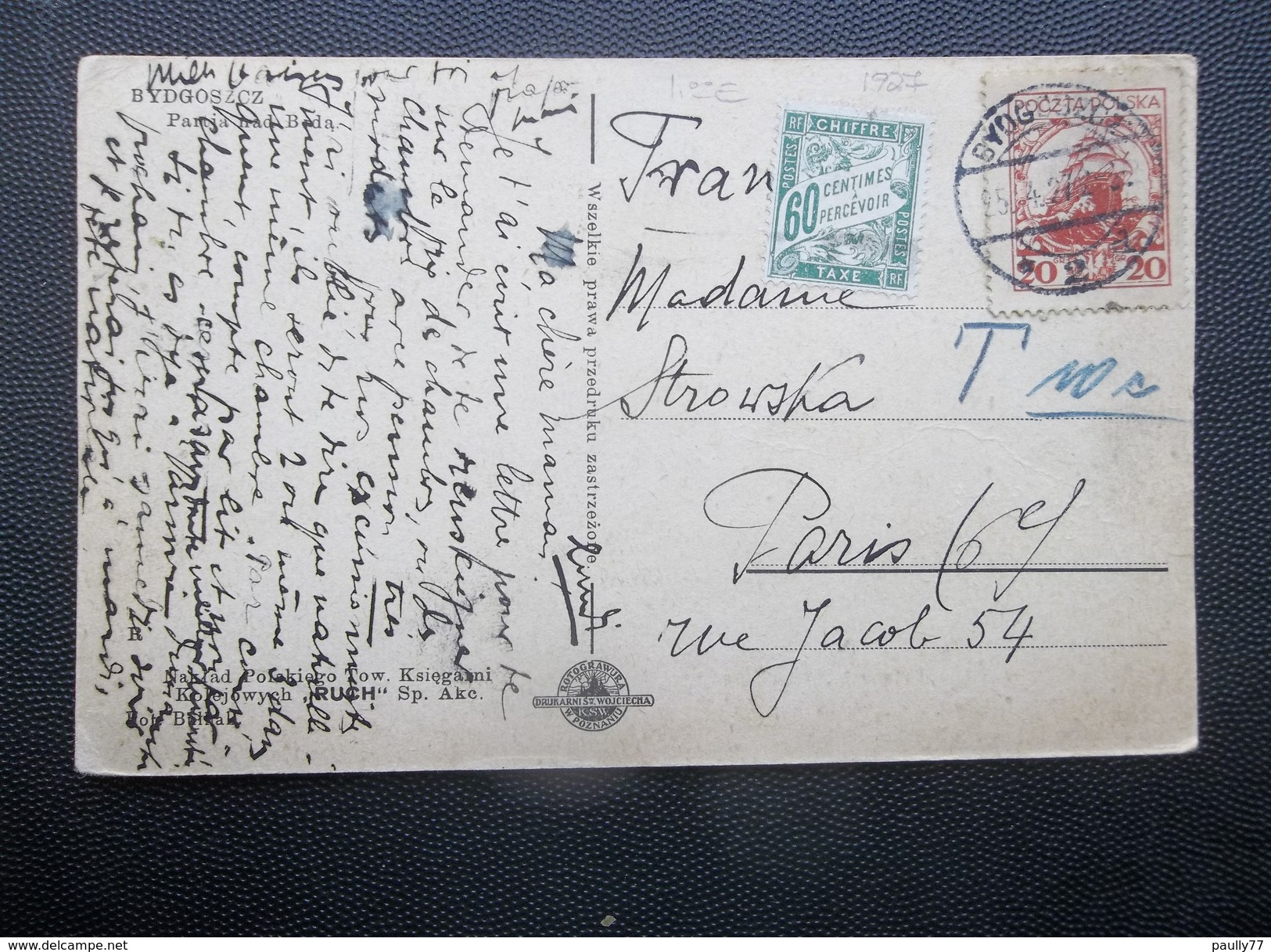 Poland: 1927 PPC To Paris (#RP6) - 1919-1939 Republik