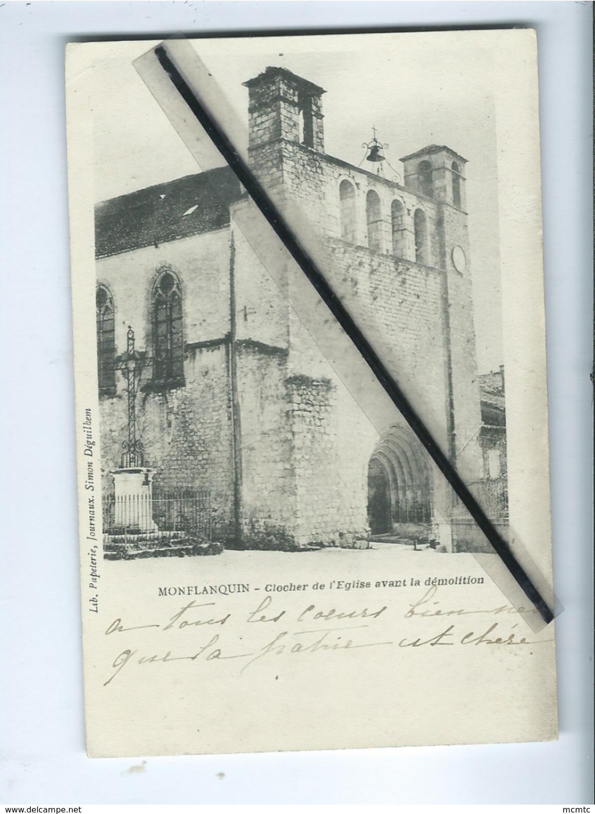 CPA  - Monflanquin  -  Clocher De L'église Avant Démolition - Monflanquin