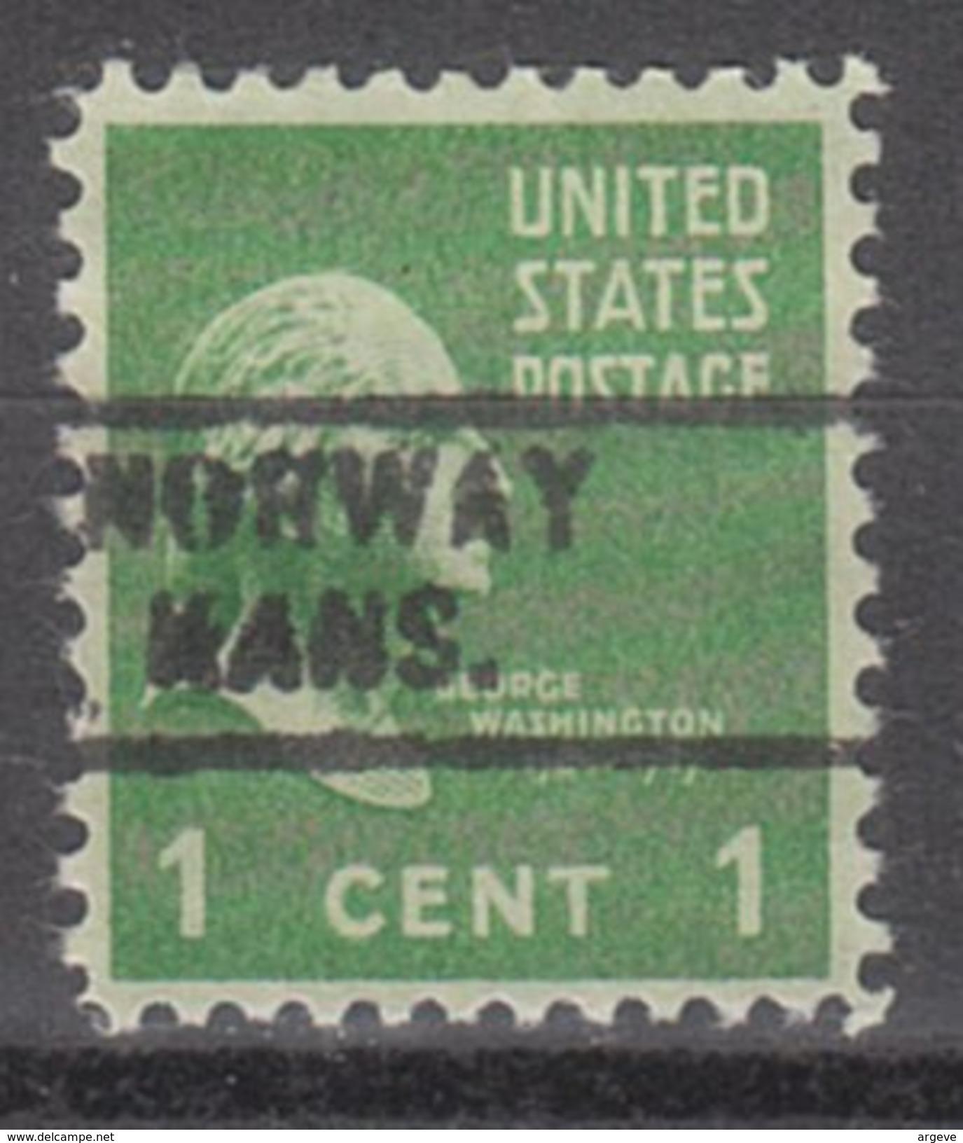 USA Precancel Vorausentwertung Preos Locals Kansas, Norway 729 - Vereinigte Staaten