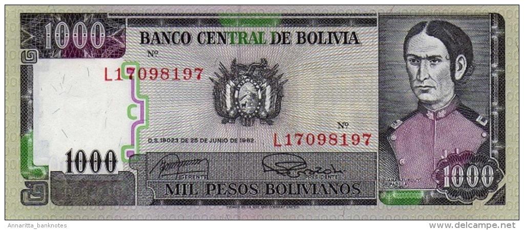 Bolivia (BCB) 1000 Pesos Bolivianos 1982 UNC Cat No. P-167b / BO553b - Bolivia