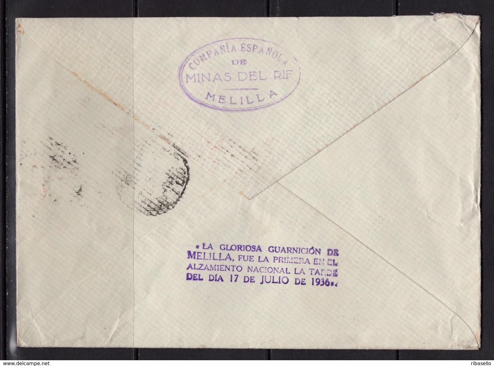 España 1939. Carta De Melilla A Genova. Censura. - Marcas De Censura Nacional