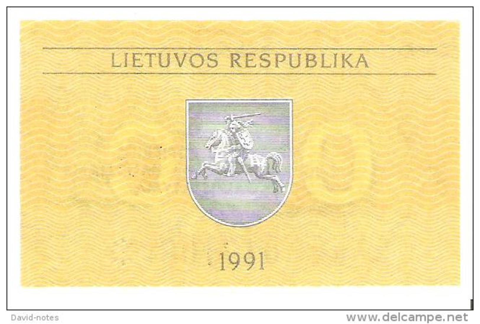 Lithuania - Pick 31 - 0.50 Talonas 1991 - Unc - Lituanie